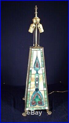 A Monumental Antique Art Deco Art Nouveau Leaded Slag Glass Lamp On Paw Feet