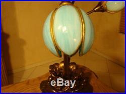 Amazing Unusual 3 Lights Antique Stained Slag Glass Tulip Lamp