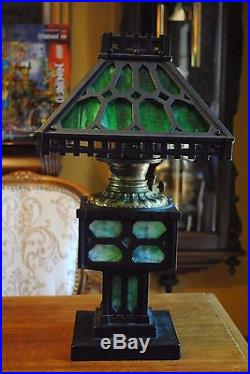 American Rustic Artsu0026Crafts Bu0026H Miller Handel Era Slag Glass Oil/Kerosene L& & oilkerosene | Slag Glass Lamp