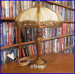 Antiaque Salem Bros. Bent Slag Glass Lamp Bradley & Hubbard Miller Handel styles