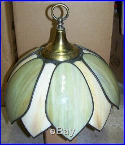 Antigue petal leaf slag glass hanging leaded lamp shade green and caramel