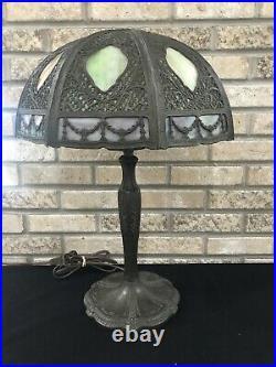 Antique 16 Panel Multicolor Slag Glass Lamp Handel Miller Bradley Hubbard Style