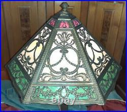 Antique 18 panel 3 color slag glass lamp circa 1900-1915
