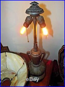 Antique 1900s Art Nouveau Large 2-Tier Miller Slag Stained Glass Table Lamp Exc