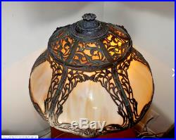Antique 1900s Miller Co RARE DESIGN Stained Slag Glass Table Lamp Two Tier Glass