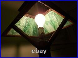Antique 1910 Stickley Era 20mission Oak Arts&crafts Slag Glass Table Lamp. Works