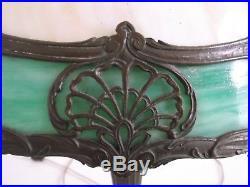 Antique 1920's Bronze & Slag Glass Tiffany Style Table Lamp