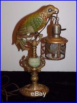 Antique 1930s Art Deco Cast Polychrome Parrot Lamp Holding Cage Slag Glass Works