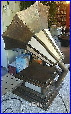 Antique 1940's hand formed metal and slag glass victrola table lamp