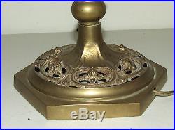 Antique 21 Brass Figural Woman Lantern Lamp Post Slag Glass Boudoir Table Lamp