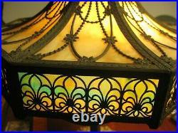 Antique 24 8-Panel Concave Bent Slag Glass Table Lamp Miller Bradley Phoenix
