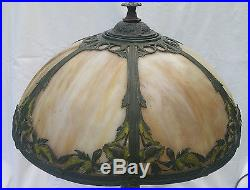 Antique 2 Light Table Lamp with Caramel Slag Glass Shade, Polychrome Metal Overlay