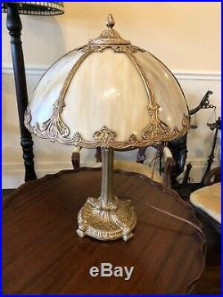 Antique 6 Panel Curved Slag Glass Panel Lamp 1930s