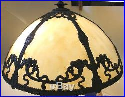 Antique 6 Panel Domed Rounded Slag Glass Lamp Shade Ribbon & Flower Motif 17 D