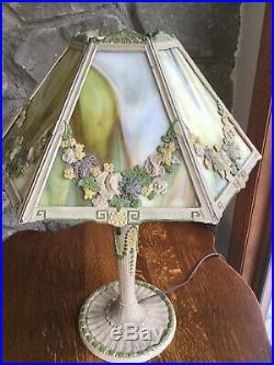 Antique 6 Panel Slag Glass Table Lamp