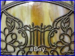 Antique 8 PANEL GREEN SLAG GLASS LAMP 15 SHADE NEEDS TOP CAP