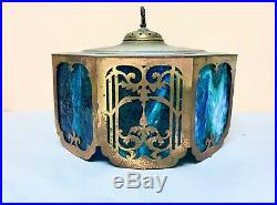 Antique ARTS CRAFTS 8-Panel Paipoint Slag Glass Table Lamp Chandelier Shade