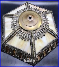 Antique ART NOUVEAU SLAG GLASS LAMP SHADE Filligree Flying Buttress Arts Crafts