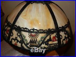 Antique ART NOUVEAU SLAG GLASS PANEL SCENIC TABLE LAMP ORIGINAL