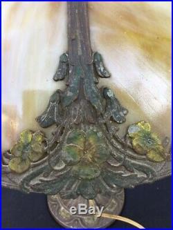 Antique A&R Art Nouveau Bent Slag Panel Glass Lamp & Shade Bradley Hubbard Type