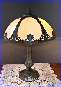 Antique A&c Deco Nouveau Slag Glass Lamp, 6 Panel Overlay Shade, Handel B&h Era