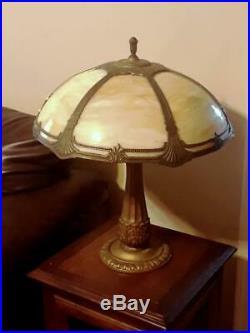 Antique Amber Beige Slag Glass Lamp ca 1920s Handel Phoenix B&H Era Excellent