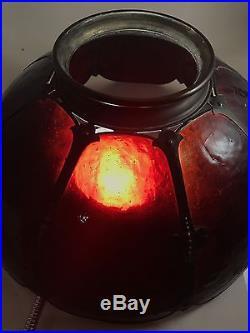 Antique Amber Blown Slag Glass Lamp Shade Arts & Crafts 16 Stunning