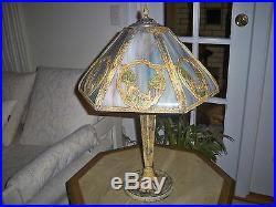 Antique American Oriental Peacock Slag Glass Table Lamp Bradley Hubbard Miller