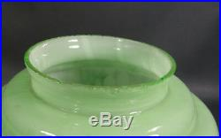 Antique Art Deco Bohemian Loetz Green Slag Glass 8Tiered Lamp Light Shade Globe