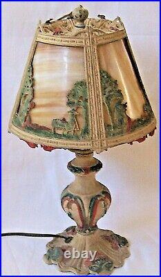 Antique Art Deco Era Cold Painted Metal 4 Panel Curved Slag Glass 15 Elec Lamp