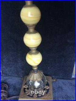 Antique Art Deco Lamp Cast Iron & Clear & Green Slag Glass