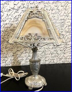 Antique Art Deco Leviton Silver Tone Slag Glass Small Decorative Table Lamp