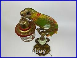 Antique Art Deco Metal Slag Glass Cold Painted Parrot Cage Boudoir Figural Lamp