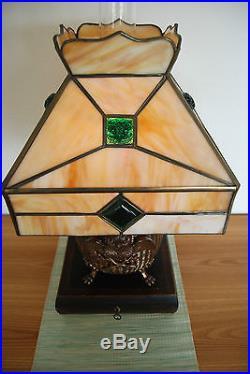 Antique Art Deco Nouveau Slag Glass Jeweled Owl Kerosene Oil Arts & Crafts Lamp