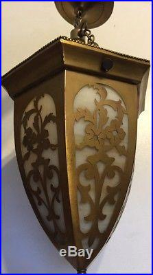 Antique Art Deco Slag Glass Crafts Man Cut Brass Hanging Pendant Light Lamp