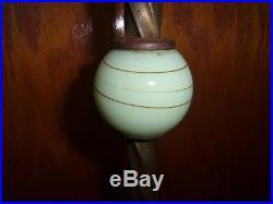 Antique Art Deco Slag Vaseline Glass Jadite Floor Lamp