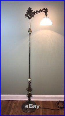 Antique Art Deco Vaseline Glass Bridge Floor Lamp Jadeite Slag Ornate Vtg 1930's