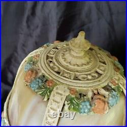 Antique Art Nouveau BANDED PANELS CARAMEL SLAG GLASS BOUDOIR LAMP ROSES GARLAND