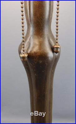 Antique Art Nouveau Bronzed Handel Slag Glass Lamp Base Original Acorn Pulls