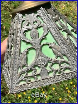 Antique Art Nouveau Cherub Lead Slag Stained Tiffany Glass Table Lamp RARE m17