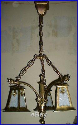 Antique Art Nouveau Dragon Slag Glass Brass Chandelier Light Lamp Fixture