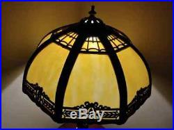 Antique Art Nouveau Filigree Caramel Slag Glass Table Lamp With Greek Goddess Base