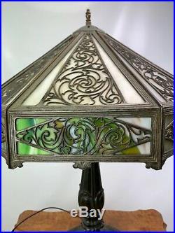 Antique Art Nouveau Ornate 8 Panel Slag Glass Table Lamp