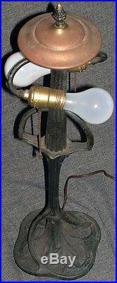 Antique Art Nouveau Pairpoint Tree Trunk Lamp Base Pastel Slag Glass Shade 16