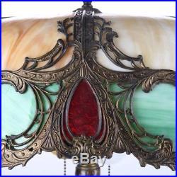 Antique Art Nouveau Slag Glass and Gilt Bronze Lamp by Charles Parker
