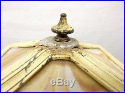 Antique Art Nouveau Spelter Desk Table Lamp Slag Glass 4 Panel Shade Bronze Vtg