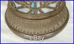 Antique Art Nouveau Stained Slag Glass Lamp