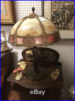 Antique Art Nouveau Table Lamp 8 Panel Caramel Bent Slag Glass Shade