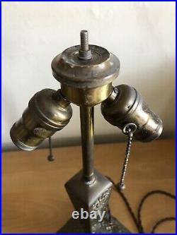 Antique Art Nouveau Table Lamp For Slag Glass Shade Floral Design