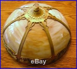 Antique Art Noveau Caramel 7 Panel Slag Glass Table Lamp Excellent